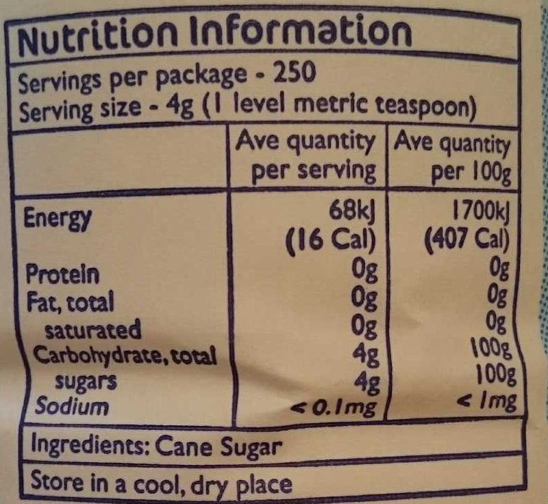 caster sugar - Nutrition facts