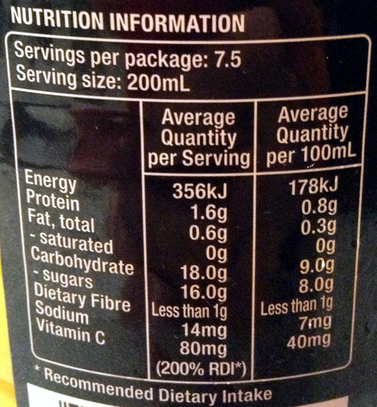 Original juice co- black label ORANGE - Nutrition facts - en