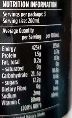 Tastfully Original Chilled Orange Juice - Nutrition facts