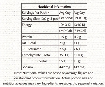 Seafood Dumplings - Nutrition facts