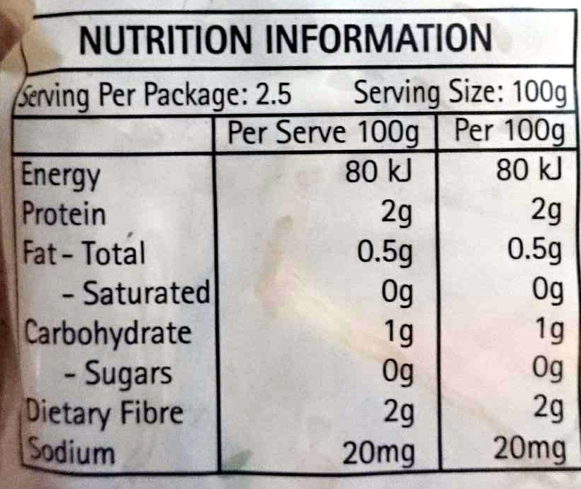 Bean Sprouts - Nutrition facts