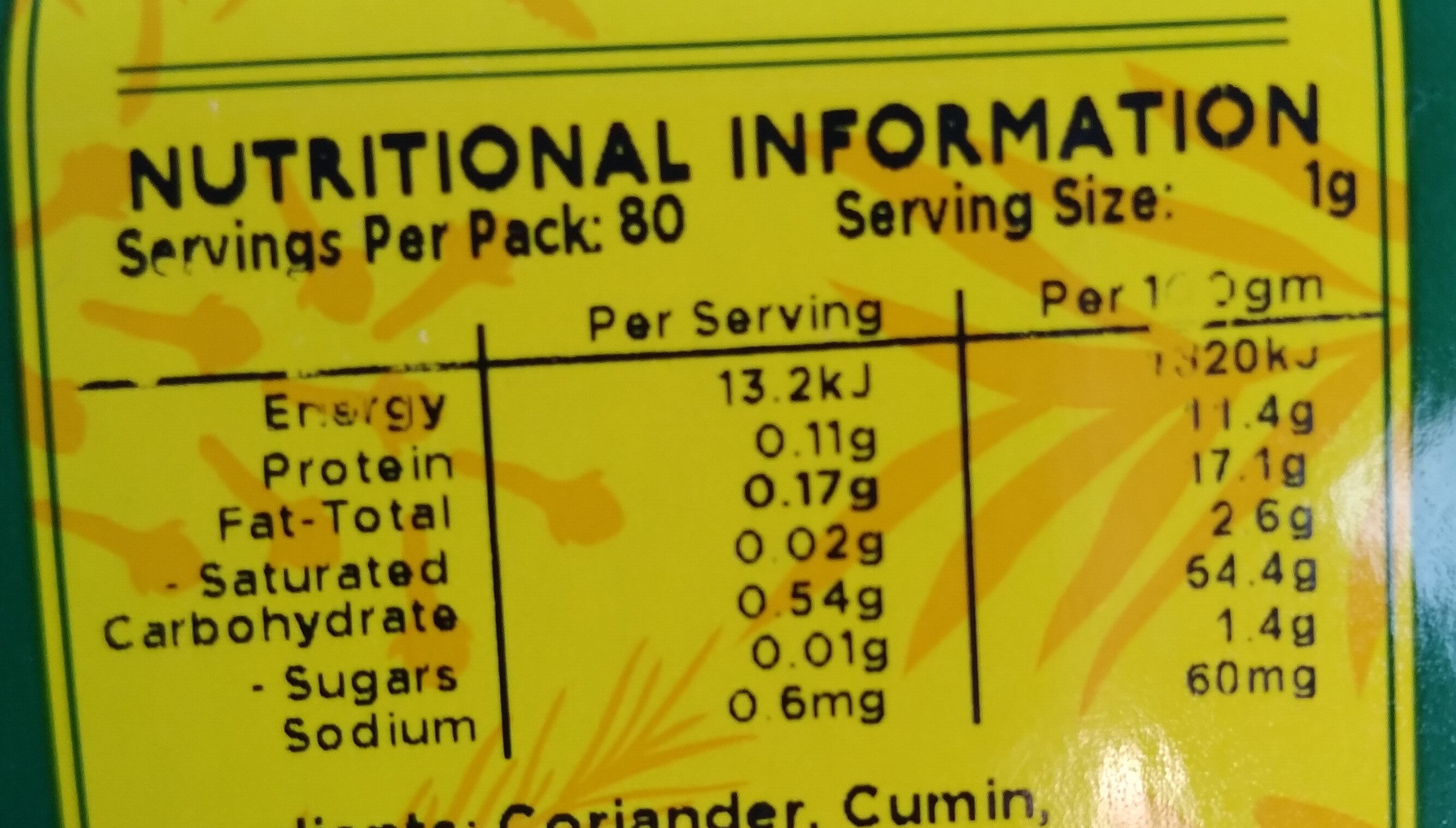 Garamassala - Nutrition facts - en