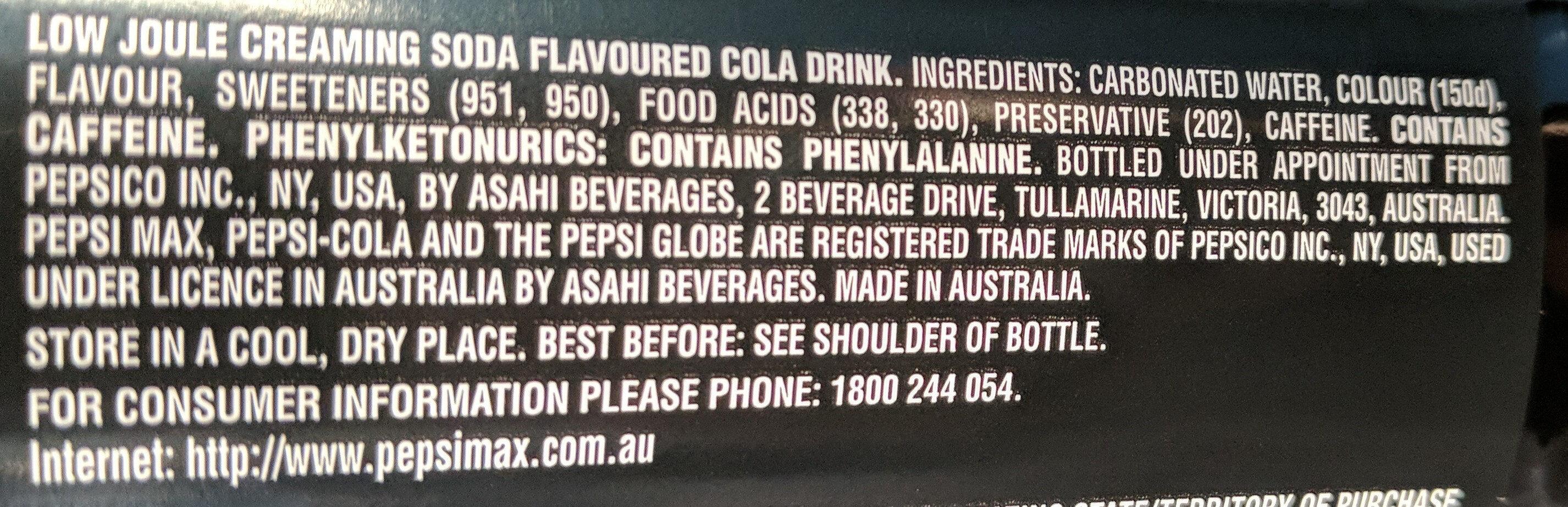 Max Creaming Soda - Ingredients - en