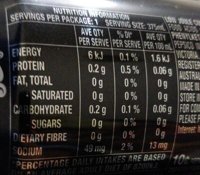 Pepsi Max - Nutrition facts - en