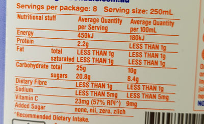 Nothing but 21 oranges pulp free juice - Nutrition facts