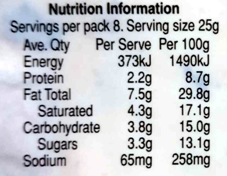 Fruit Nut And Brandy Flavoured Cream Cheese - Nutrition facts - en