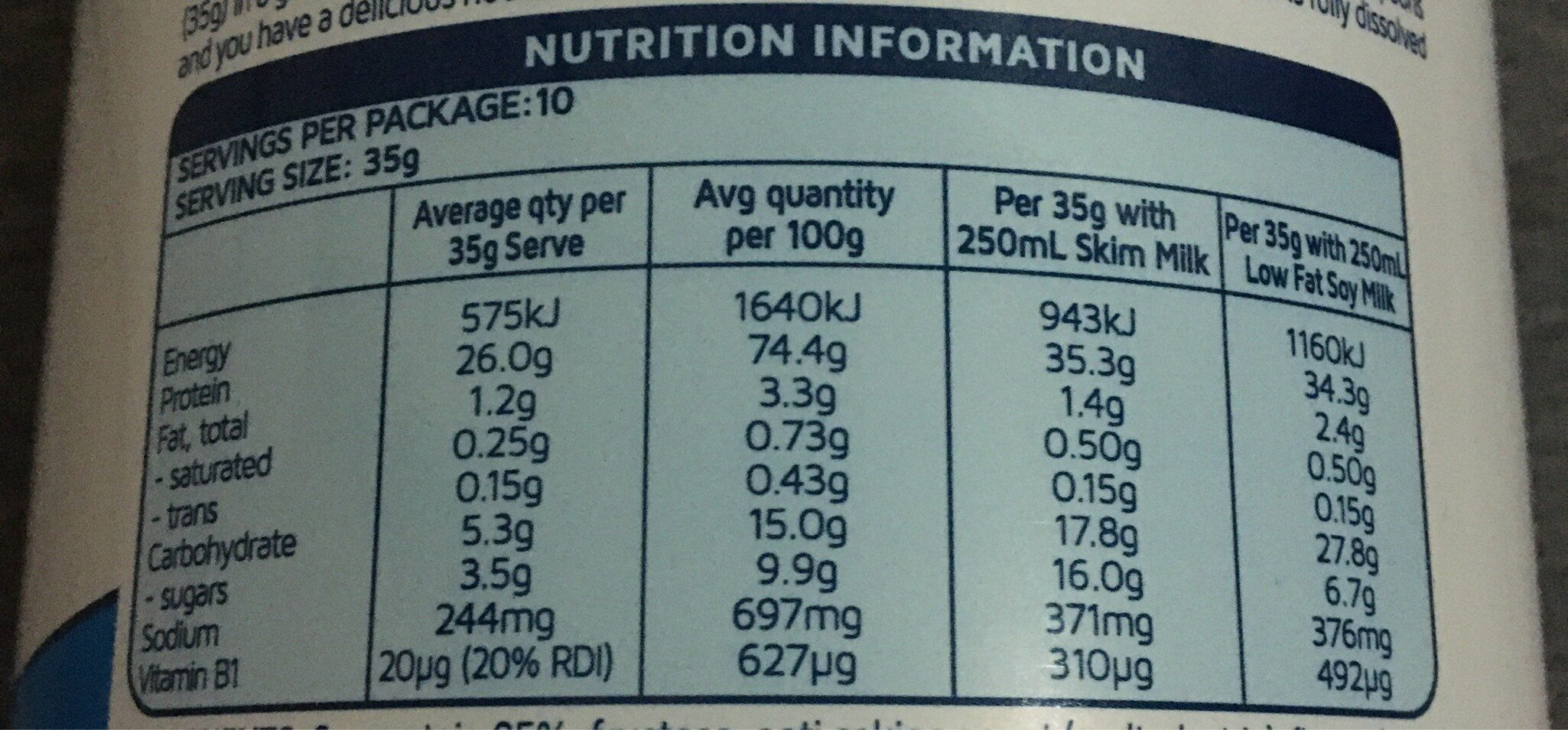 Instant Natural Protein - Nutrition facts - fr