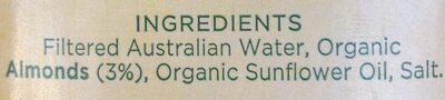 Almond milk unsweetened - Ingredients