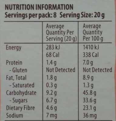 Strawberry & Apple Snack Bars - Informations nutritionnelles - en