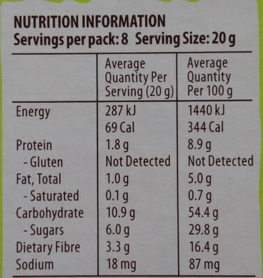 Apple Pie Snack Bars - Nutrition facts