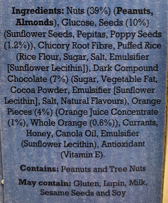 Choc Orange Nut Bars - Ingredients - en