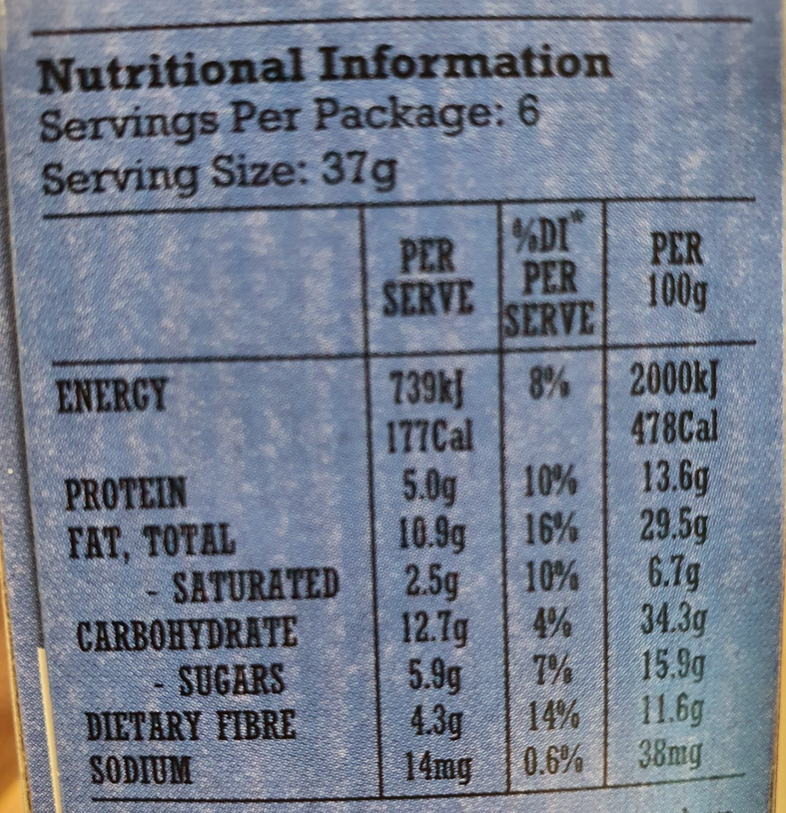 Choc Orange Nut Bars - Nutrition facts
