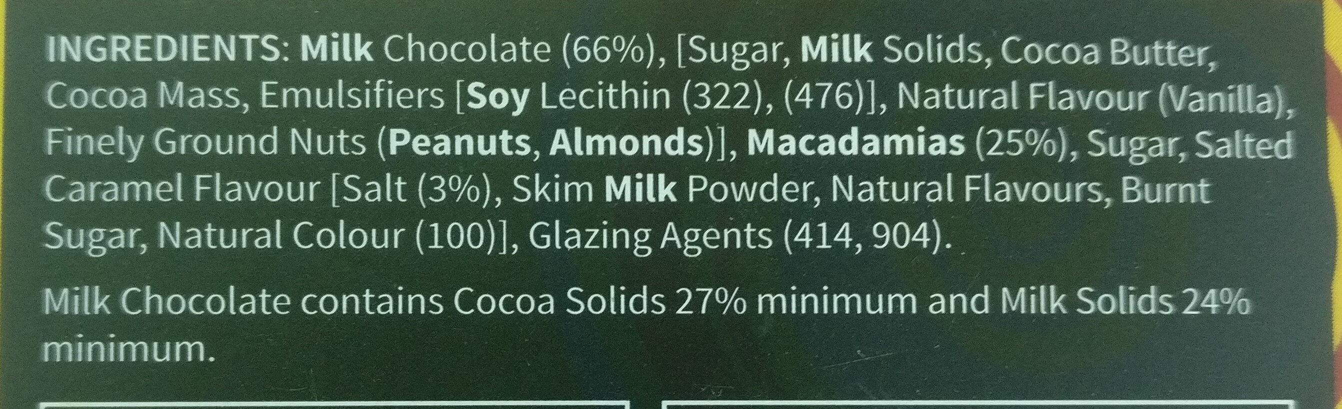 Chocolate Macadamias Salted Caramel - Ingredients - en