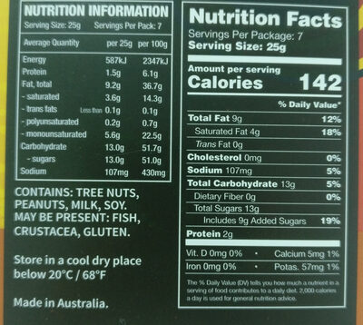 Chocolate Macadamias Salted Caramel - Nutrition facts