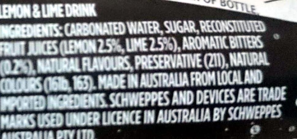 Lemon Lime & Bitters - Ingredients