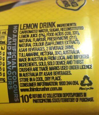Solo Original Lemon - Ingredients - en