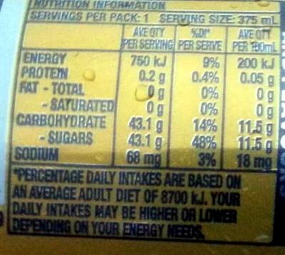 Solo Original Lemon - Nutrition facts