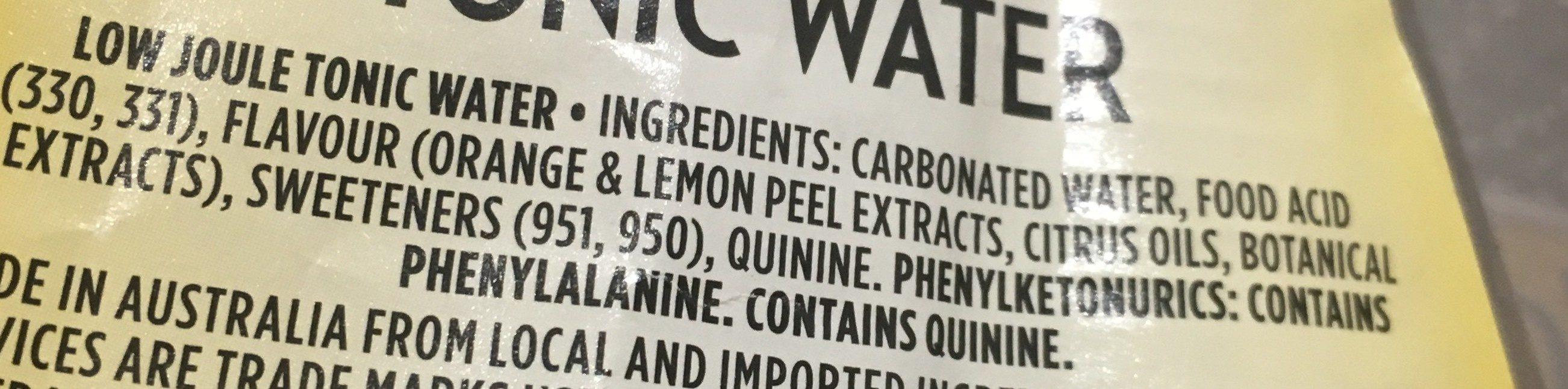 Diet indian tonic water - Ingrediënten