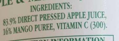 Mountain Fresh Fruit Juices Apple and Mango Juice - Ingredients - en