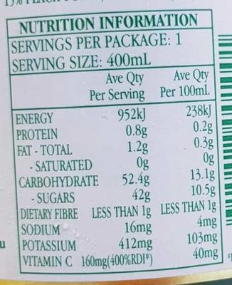 Premium Apple & Peach Juice - Nutrition facts