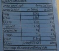 Adelaide Hills Dairies 100% South Australian Fresh Milk Fat Reduced - Nutrition facts