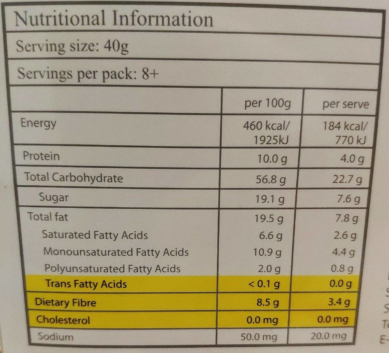 Yogood Crunch Muelsi - Giá trị dinh dưỡng - fr