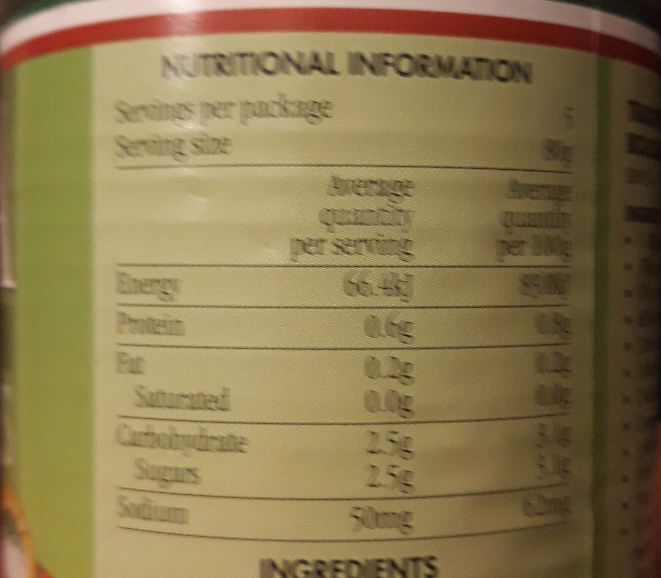 Diced Tomatoes - Informations nutritionnelles - en