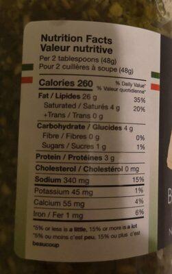 Siena arte - Nutrition facts - fr