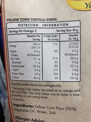 Mission original tortilla strips yellow corn - Nutrition facts