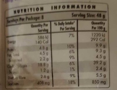 Chia Wraps - Nutrition facts