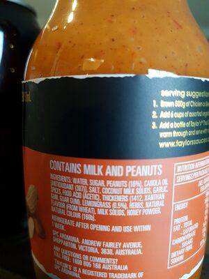 taylors thai satay - Ingredients