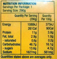 Chicken Noodle Pad Thai - Nutrition facts