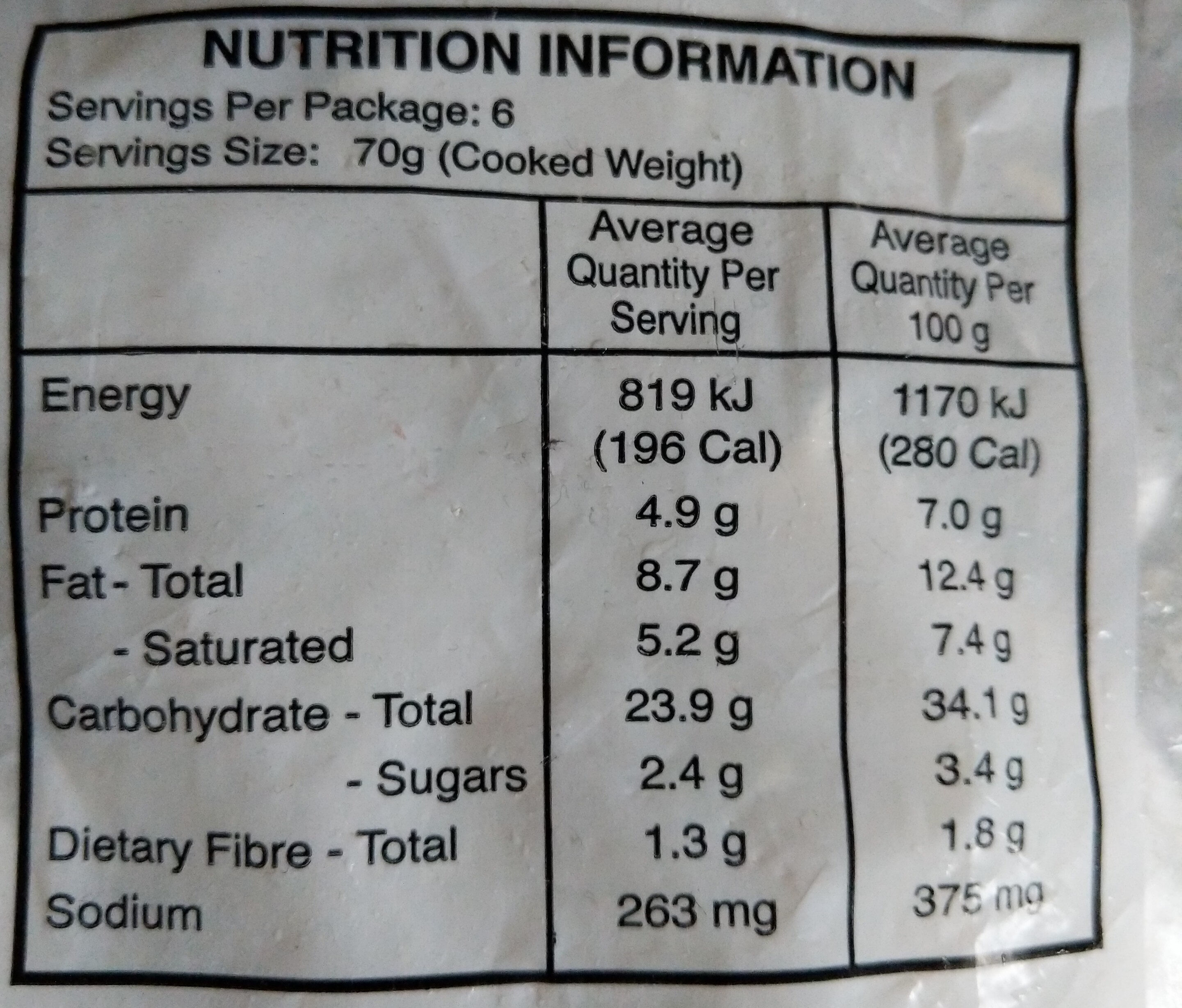Freshly Frozen Vegetarian Pastizzi - Nutrition facts - en
