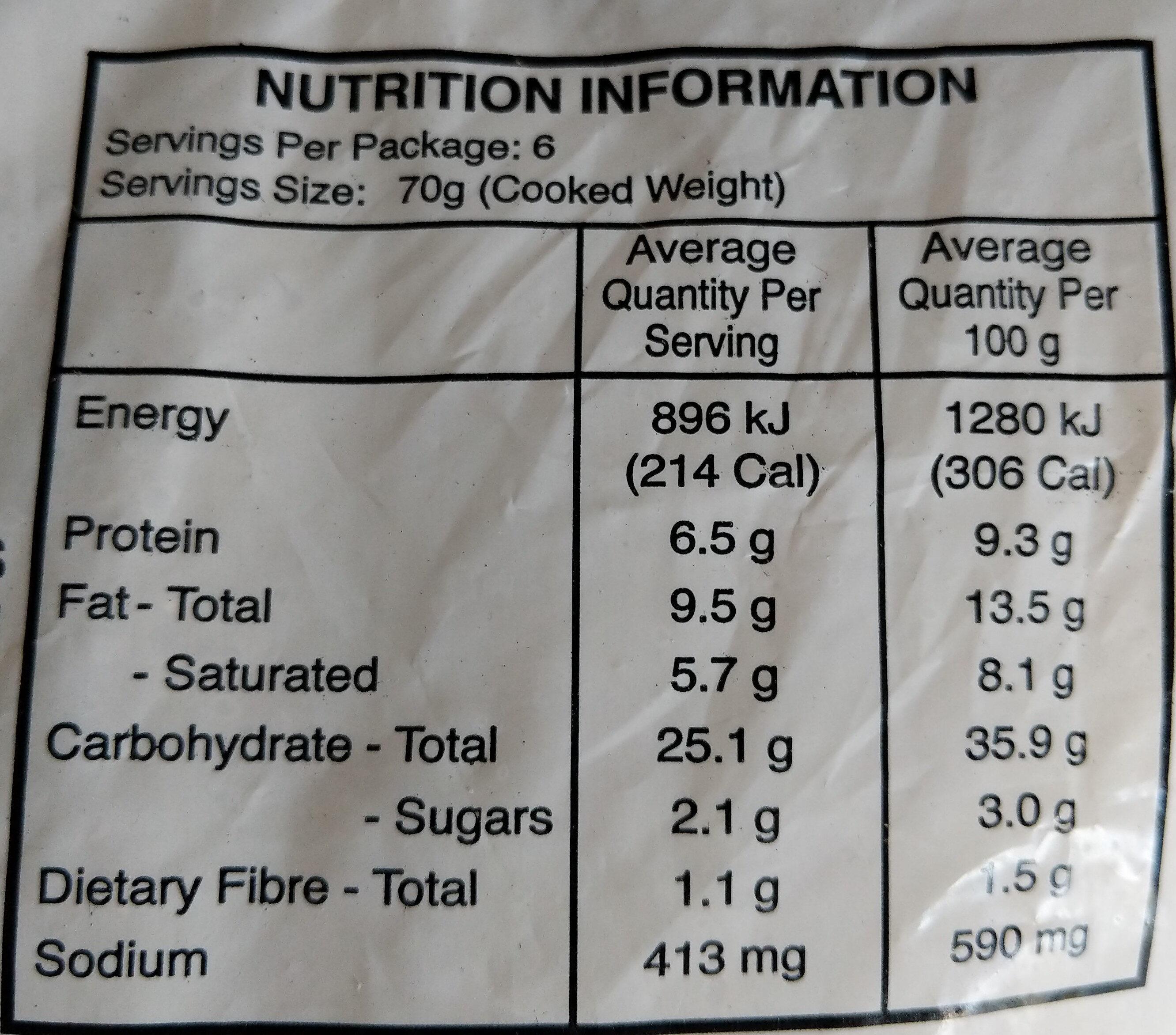 Freshly Frozen Curry Chicken Pastizzi - Nutrition facts - en
