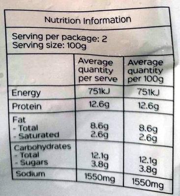 Pork & Chive Dumpling - Nutrition facts