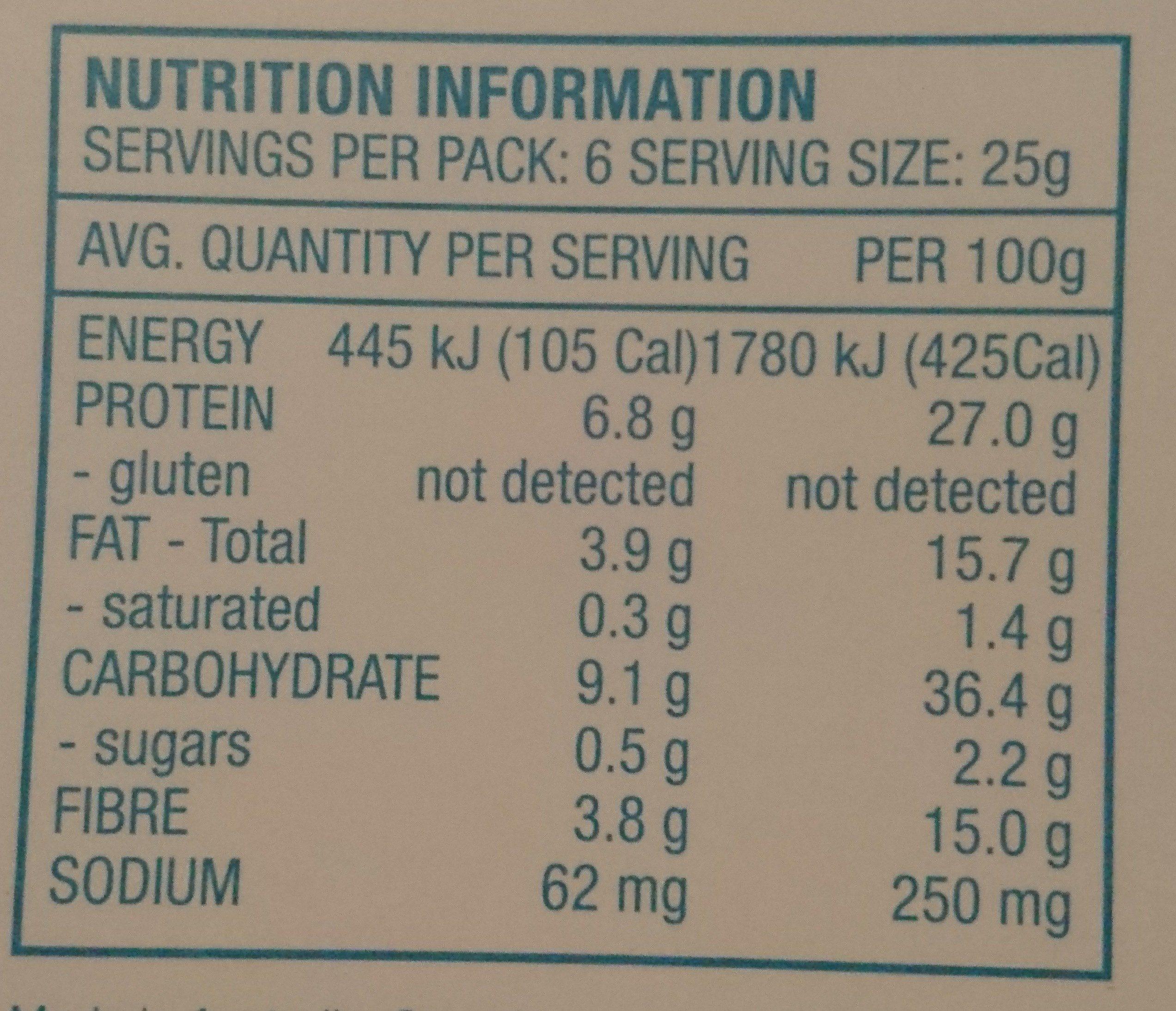 crunchy Roasted Favva beans - Informations nutritionnelles - en