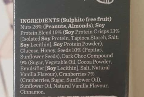 Gourmet Protein Bars Dark Choc & Cranberry - Ingredients