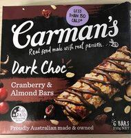 Carman's Dark Choc cranberry & Almond Bars - Produit - fr