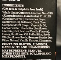 Carman's Dark Choc cranberry & Almond Bars - Ingrédients - fr
