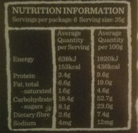 Blueberrie superfood bars - Nutrition facts - en