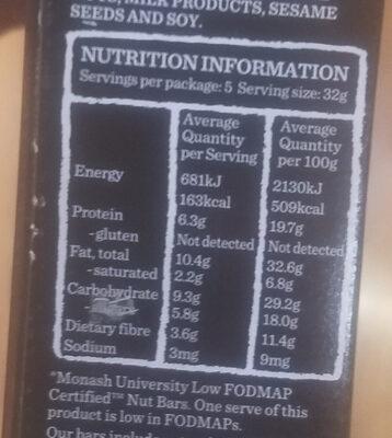 Nut Bar Dark Choc Espresso - Nutrition facts