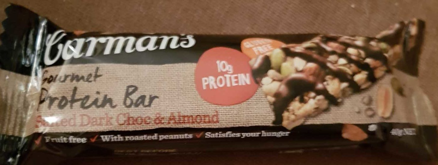 Carman's Gourmet Protein Bar Salted Dark Choc & Almond - Product