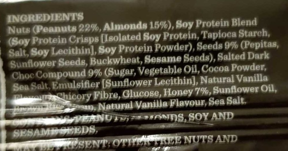 Carman's Gourmet Protein Bar Salted Dark Choc & Almond - Ingredients - en