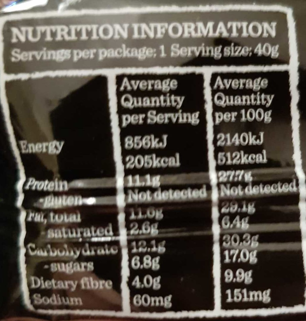 Carman's Gourmet Protein Bar Salted Dark Choc & Almond - Nutrition facts