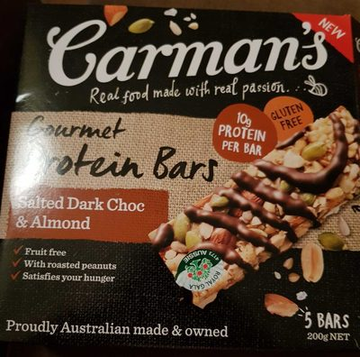 Carman's Gourmet Protein Bars Salted Dark Choc & Almond - Produit - en