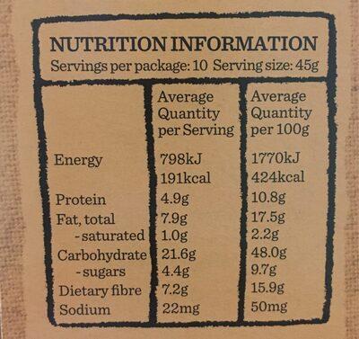 5 grain & seed granola - Informations nutritionnelles - en