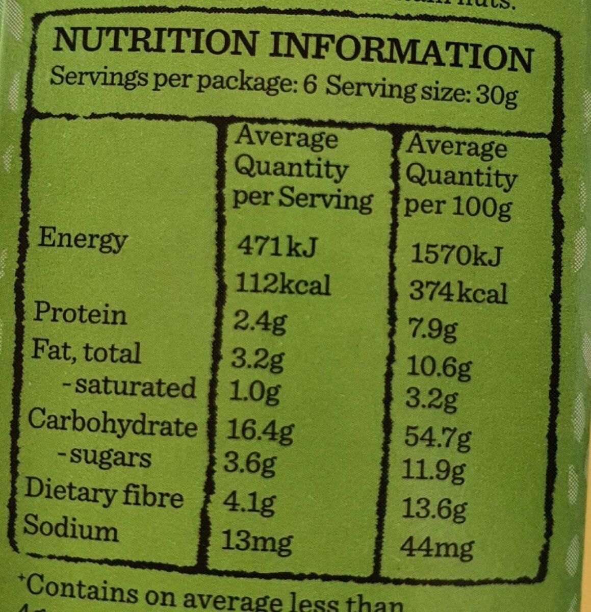 Apple Pie & Custard Aussie Oat Bar - Informations nutritionnelles - en