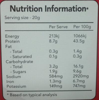 Australian Jerky Kangaroo Soft - Nutrition facts