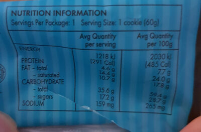 Milk Choc Chunk Cookie - Nutrition facts - en