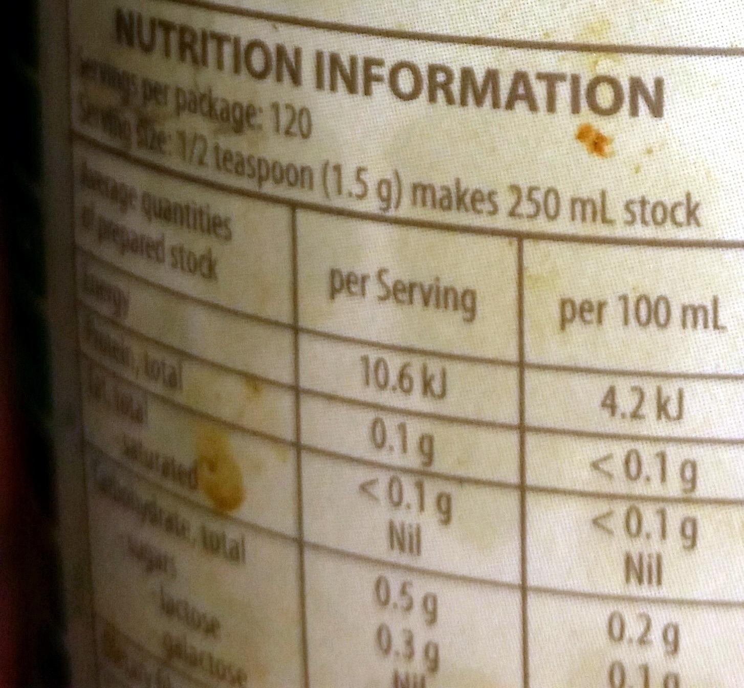 Delight vegetable stock - Nutrition facts - en